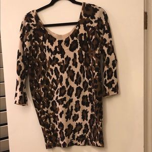 Lucky Brand scoop neck Leopard Sweater
